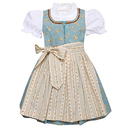 Berwin und Wolff Mädchen Trachten-Mode Kinderdirndl Franzl in Türkis traditionell, Farbe:Türkis, Größe:68