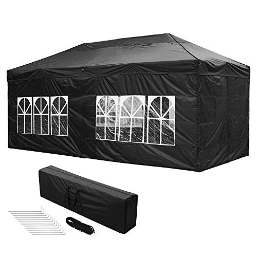 Yescom 10x20 FT Easy Pop Up Canopy Folding Wedding Party Tent with Removable Sidewalls & Carry Bag Outdoor Black