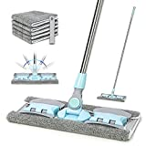 Product Image of the VAIIGO 360° Rotating Microfiber Dust Mop, Hardwood Floor Mop, Dust Flat Mop, Stainless Steel Handle with Extension and 5 Reusable Mop Pads, for Home/Office Floor Cleaning