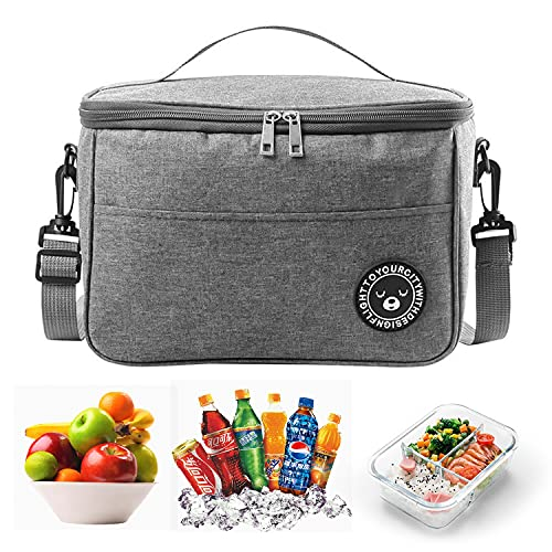 Foraco Sac isotherme pliable, petit sac isotherme, sacs à lunch étanches, sac isotherme avec fermeture éclair, sac de pique-nique adapté au bureau, à l'école, à la randonnée (gris)