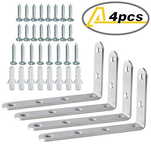 Alise J5207-4P Stainless Steel Shelf Brackets 5x3 Inch,4Pcs Brushed Nickel