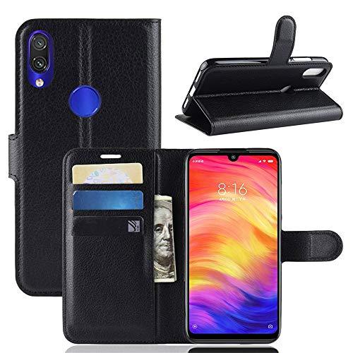 subtel® Handytasche kompatibel mit Xiaomi Redmi Note 7 Global PU Leder Schutzhülle mit Kartenfächern Hülle Flip Hülle Tasche Flip Cover Klapphülle Book Hülle Etui Wallet schwarz