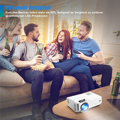 FunLites Video Projektor Full HD, Portable Mini Beamer, Native 1280x720P unterstützt 1080P, HDMI VGA AV USB kompatibel, Schwarzweiß - 7