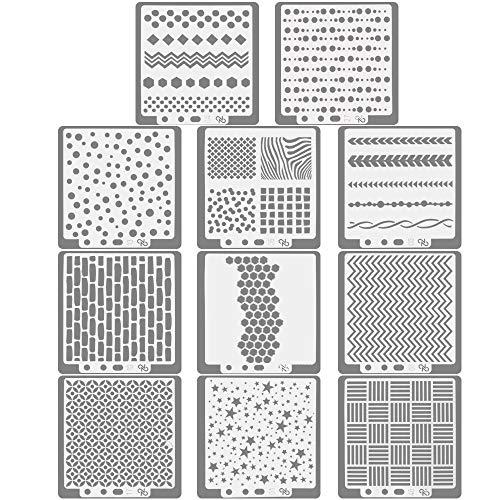 KLYNGTSK 11 PCS Plantilla para Diario Diseño Geométrico Plástico Dibujo Pintura Reutilizables Plantillas DIY para Álbum de Recortes, Diario, Escritura, Creaciones Artesanales (14 x 13 cm)