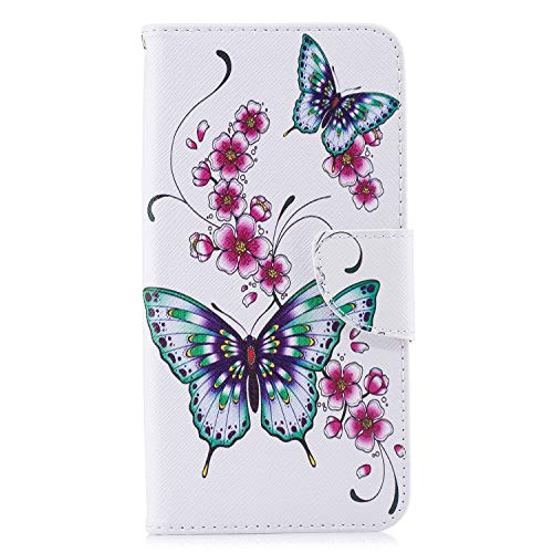 Samsung Galaxy A50 Phone Case 2019, Shockproof PU Leather Flip Wallet Cases with Stand Magnetic Card Slots Holder TPU Gel Bumper Folio Slim Fit Protective Cover for Samsung Galaxy A50 Butterfly