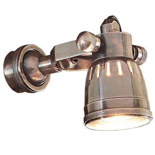 Loberon Wandlampe Bedford, Messing, H/Ø 19/6,5 cm, antiksilber, GU10, max. 35 Watt, A++ bis E