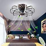 Ventilador de techo rústico LED de luz, la luz de la iluminación de la lámpara con control remoto regulable 200W ultra silencioso, para el dormitorio de estar Oficina de habitaciones,Marrón