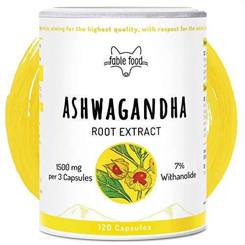 fable food Ashwagandha Kapseln hochdosiert | 1500mg Wurzel-Extrakt 6:1 je Tagesdosis | 7% Withanolide | 120 Kapseln | Vegan ohne Zusatzstoffe | Premium Qualität | Hergestellt in Deutschland