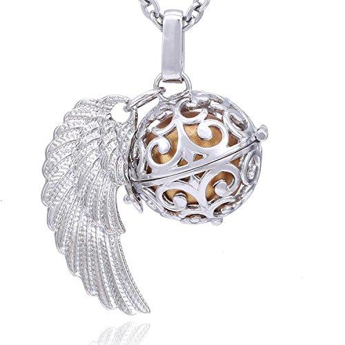Morella Damen Schutzengel Halskette Edelstahl 70 cm mit Anhänger Engelsflügel und Klangkugel Gold Ø 16 mm in Schmuckbeutel