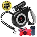 Retractable Dog Leash with Bright Flashlight for Small to Medium Breed Dogs, 16...