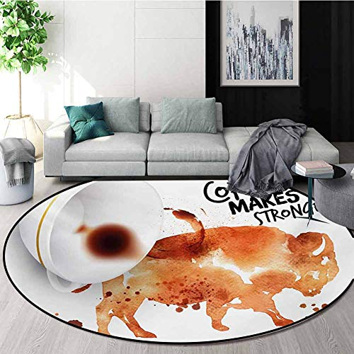 Best Bargain RUGSMAT Coffee Art Super Soft Circle Rugs for Girls,Conceptual Design with Inverted Ame...