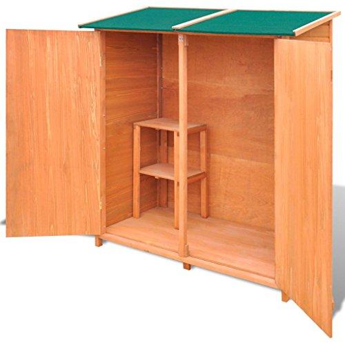 Vislone Holz Gerätehaus Garten Schrank aus Holz Geräteschuppen Geräteschrank 138 x 65,5 x 160 cm