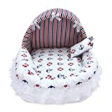 AMURAO Cama para Mascotas Princess con Almohada Cómoda Canasta para Perros Lovely Cat Puppy Mat Sofá Dog House Nest Sleep Cushion Kennel