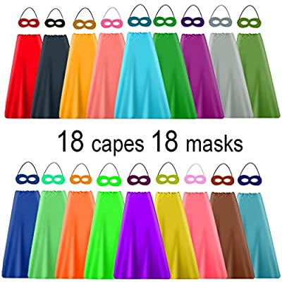 YIISUN Superhero Capes Plain Capes for Kids to Decorate Kids Dress for Birthday Dress up Capes Party Favors Bulk Pack 18 Capes with 18 Masks Different Color