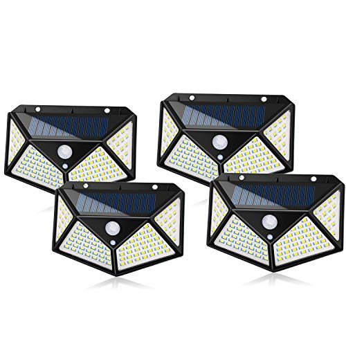 Solarlicht Außen 100 LED Wasserdichte Sicherheitswand Nachtlicht mit Bewegungssensor 270 ° Weitwinkel für Weg Veranda Hof Garage Gartenzaun Gehweg Auffahrt (4 Stücke)