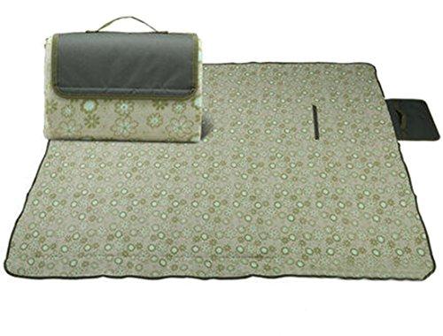 Honeystore 180 * 140 Flanell Wasserdichte Yoga Matte Strand Ausflug Picknickdecke mit Tragegriff Grün