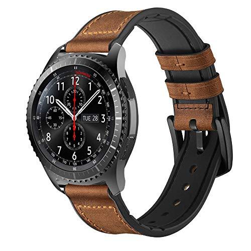22 mm Wath Band voor Samsung Gear S3 Frontier/Galaxy Watch 46 mm, Lederen Horloge Band met Siliconen Rubber Waterdichte Vervangende Armband voor Huawei Horloge 2 GT/Classic, Leather/Silicone - Brown