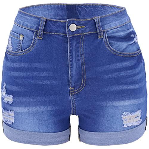 Pantalones Cortos elásticos cómodos de Lavado Desgastado a la Moda para Mujer Pantalones Cortos de Mezclilla con Agujeros Rasgados y Dobladillo Enrollado de Verano X-Large
