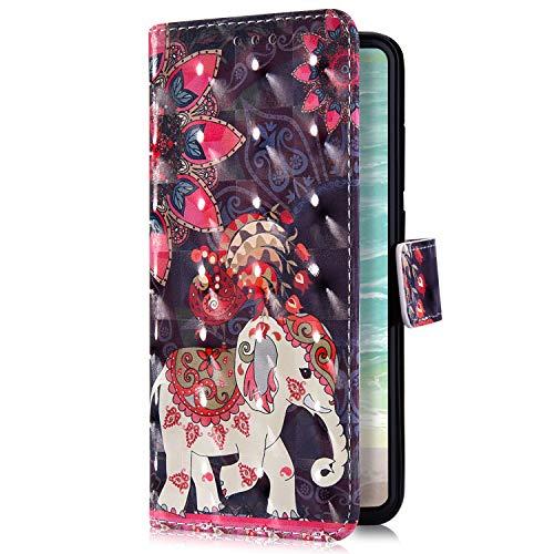 Uposao Kompatibel mit Xiaomi Redmi Note 6 Pro Handyhülle Bling Glitzer Bunt Muster Leder Tasche Schutzhülle Brieftasche Handytasche Wallet Lederhülle Klapphülle Flip Case,Mandala Blumen Elefant