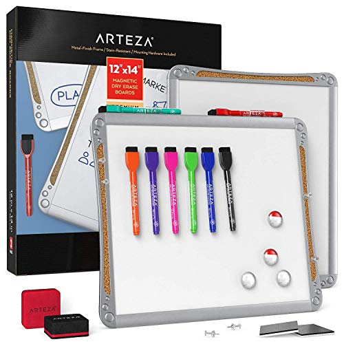 Arteza Framed Magnetic Cork Whiteboard Set, 12x14 inches, 2-Pack Dry Erase Lap Boards with Push Pins, Markers & Magnets, Office Supplies for School, Home, Office, Planning, Brainstorming, Projects