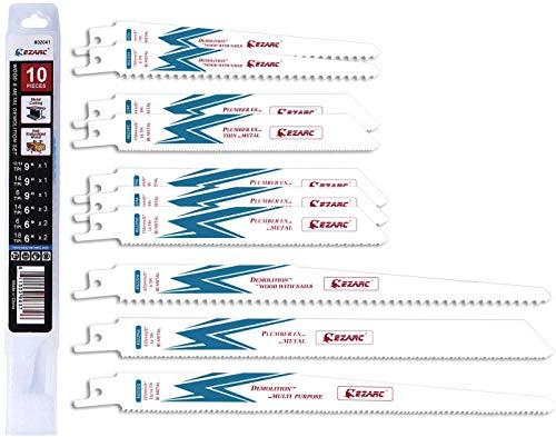EZARC Hojas de sierra sable Combinación para Demolición Madera y Metal (10 Piezas)