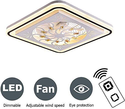 WJJH Ventilador de Techo de Cristal con iluminación, Techo Modern Fan de luz LED de 72W, Ajustable Velocidad del Viento, regulador y de Control Remoto, de Techo LED Modern Light Square,Oro