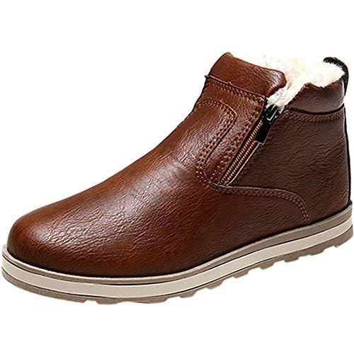 Wealsex Otoño Invierno Hombre Zapatos Caliente Calentar Botas de Nieve Cremallera Lateral Antideslizante Resistente al Agua Botas de Algodón (Marrón,43)