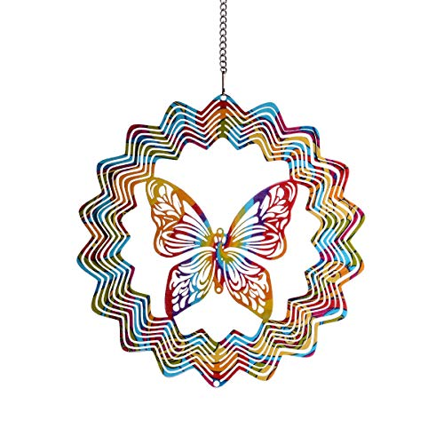 LONGSHENG Since 2001 Thin 15CM/5.9Inch Multicoloured 3D Metal Art Garden Wind Spinner for The Garden Window Hanging Home Xmas Decor with Colorful Butterfly Pendant(1PC)