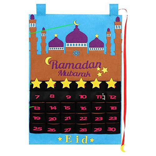 TOPPU 2021 Adventskalender Ramadan-Dekorationen, Eid-Kalender-Countdown-Kalender, Ramadan-Kalender 30 Tage Eid Mubarak Hängende Filz-Countdown-Kalender für Kinder Eid-Geschenke Ramadan-Dekorationen