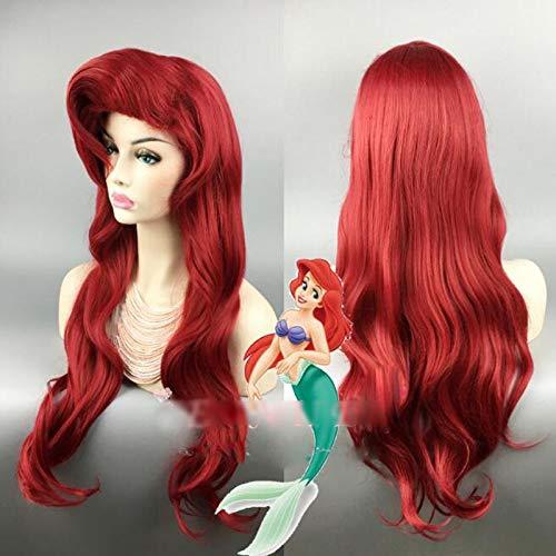 La Sirenita peluca roja onda del cuerpo peluca ondulada Cosplay princesa Ariel peluca juego de rol disfraz + gorra de peluca