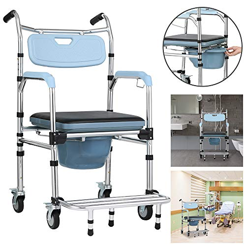 Froadp Fahrbarer Toilettenstuhl Fahrbar als Toilettenstuhl und sicheren Toilettenrahmen Nachtstuhl Höhenverstellbar mit Rollen Rückenlehneund antirutschenden WC-Stuhl