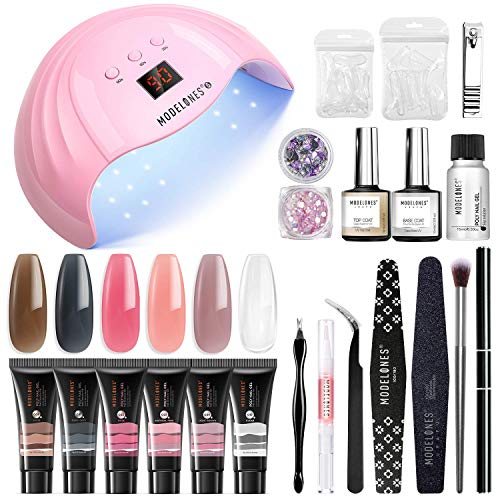 Modelones Poly Extension Gel Nail Kit - 6 Colors with 48W Nail Lamp Slip Solution Rhinestone Glitter All In One Kit for Nail Manicure Beginner Starter Kit DIY at Home Kit