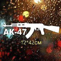 Kojp AK-47の単語やパターン最大の自動車部品車のデカールステッカー面白いビニール車ステッカー12x42cm (Color : White)