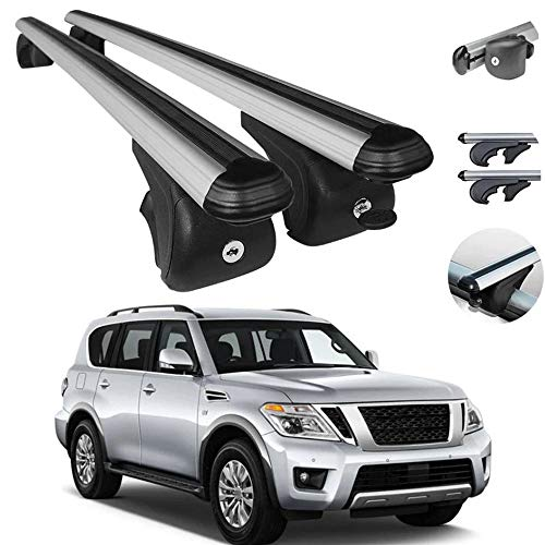 Roof Rack Crossbars Fits Nissan Armada 2017-2021 | Luggage Kayak Cargo Hard-Shell Carrier | Aluminum Rooftop of Your Car | Silver 2 Pcs.