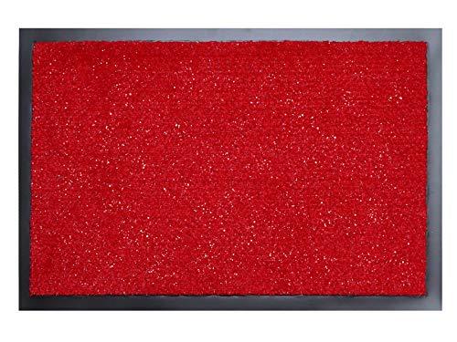 Primaflor - Ideen in Textil Fußmatte Schmutzfang-Matte Flash – Rot mit Glitzer-Fäden, 40 x 60 cm, Waschbare, rutschfeste, Pflegeleichte Eingangsmatte, Sauberlauf-Matte, Türvorleger für Innen & Außen