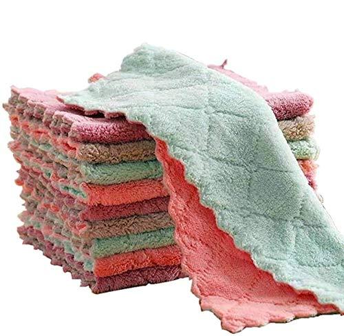 Toallas de cocina – Paño de limpieza de microfibra muy absorbente, elimina el aceite y el polvo, toallas de cocina antiadherentes, lavable a aceite de secado rápido