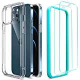 ESR Sidekick Series Compatible with iPhone 12 Case/Compatible with iPhone 12 Pro Case with Screen Protector [2 Tempered Glass Screen Protectors] [Ergonomic Protective Case], 6.1', Clear