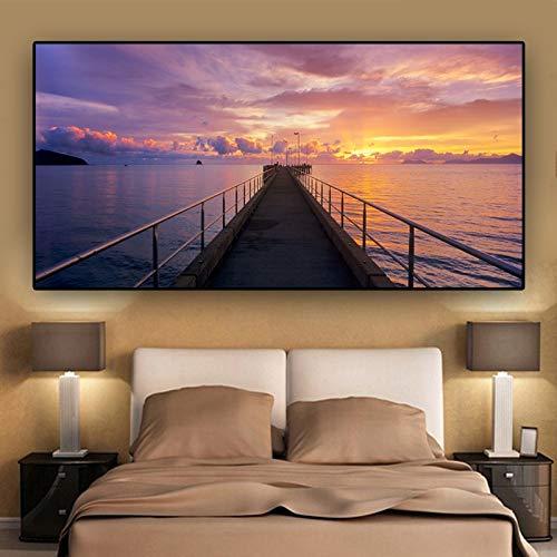 wZUN Sunset Nature Dusk Pier Landschaft Poster und Drucke Leinwand Malerei Panorama Skandinavische Wandkunst Wohnzimmer...