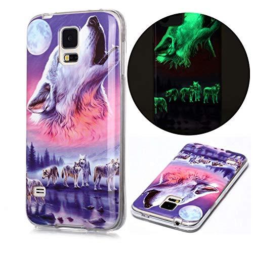 Miagon Leuchtend Luminous Hülle für Samsung Galaxy S5,Fluoreszierend Licht im Dunkeln Handyhülle Silikon Case Handytasche Stoßfest Schutzhülle,Sechs Wolf