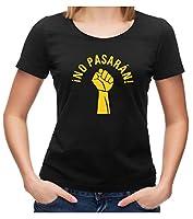 Styletex23 No Pasaran Fist Logo Zeichen T-Shirtk, M, Ladies schwarz