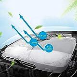 サンシェード 車用 遮光 日よけ カーサンシェード 紫外線対策 遮熱 フロントグラス UVカット 折り畳みワイヤタイプ 収納バッグ付き 汎用サイズ