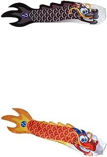 2X Red & Black Chinese Dragon Carp Wind Sock Koinobori Fish Kite Flag Hanging Wall Decor Wind Sock