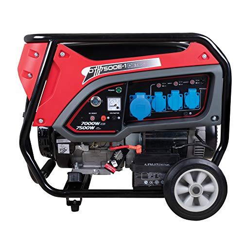 DeTec. DT-7500E-1 Benzin-Generator (7kW Dauerleistung, 7500 Watt max. Leistung, 3X 230V Schukoanschlüsse, 4-Takt Motor, Ölmangelsicherung)