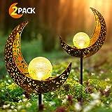 infinitoo Solarlampe für Außen, 2er Pack Metall Mond-Form LED Stake Dekorative Gartenfahlständer Solarleuchte im Freien Gartendeko für Terrasse, Weg, Hof, Rasen