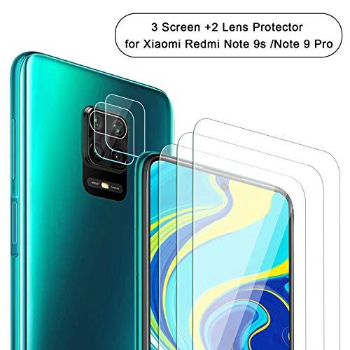NEWZEROL 3 Stück Displayschutzfolie + 2 Stück Kameraschutz für Xiaomi Redmi Note 9S / Note 9 Pro 2.5D Gekrümmter Kante Anti-Kratzer 9 Härte Hochauflösender Displayschutz Aus Gehärtetem Glas