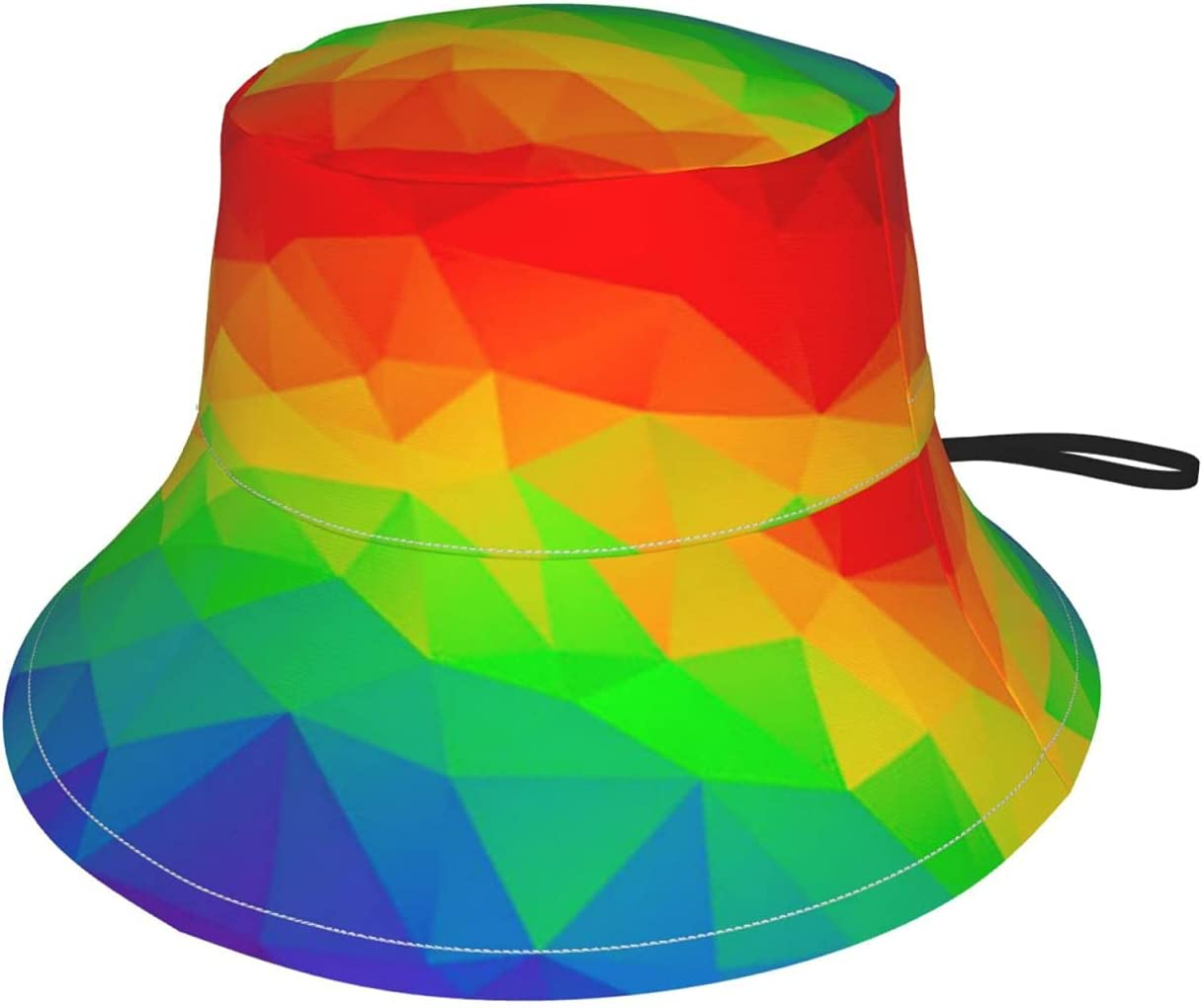 Polygonal Geometric Rainbow Colorful1 Adjustable Kids Sun Hat Summer Beach Bucket Hat Boys Girls Fishing Hats Small