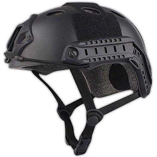 H World EU Ejército estilo militar SWAT Combat PJ tipo rápido casco para CQB Shooting Airsoft Paintball (negro)