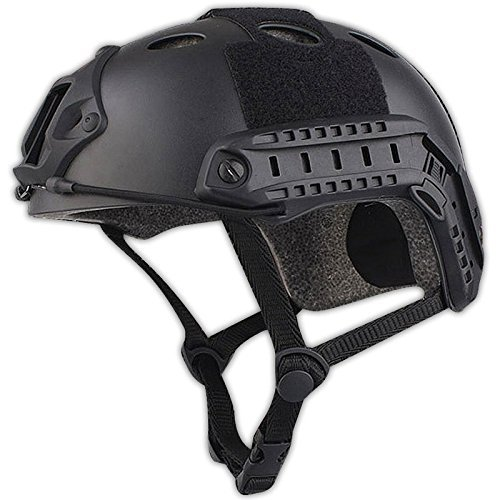 H World EU Army estilo militar SWAT Combat PJ tipo casco rápido para CQB Shooting Airsoft Paintball (negro)
