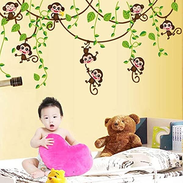 CHicoco Home Kid Room Decoration Cartoon Cute Monkeys Climbing Jungle Tree Wall Sticker Home D Cor Accents For Living Room Flower Wall Decals Home Improvement Paint Wall Murals Decor Mural Paper