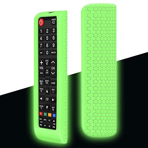 Custodia in Silicone per Samsung Nuovo Telecomando AA59-00741A BN59-01175N BN59-01199F Sostitutivo, Anti-Scivolo Protettiva Cover Cassa Copertura per Samsung Smart TV Remote(Verde Fluorescente)